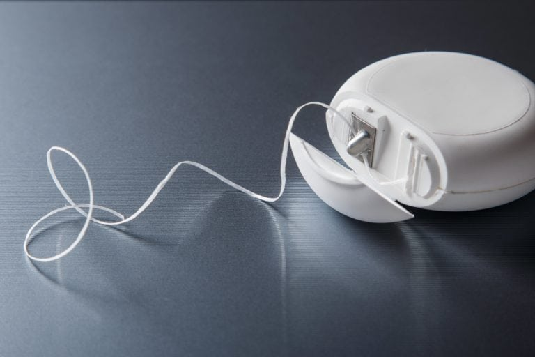 A container of dental floss